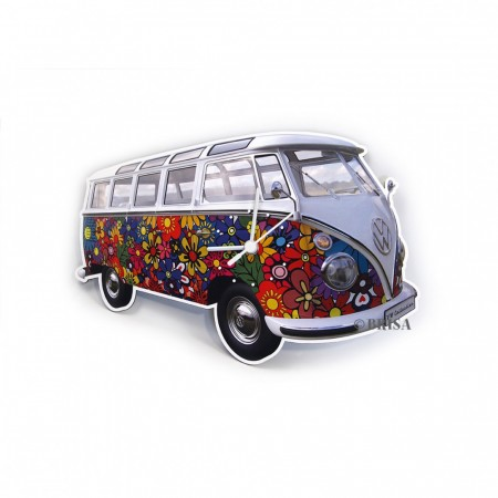 VW T1 buss veggklokke - Flower power